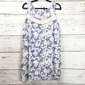 Kensie Blue Floral Dress w/ Tassel Details